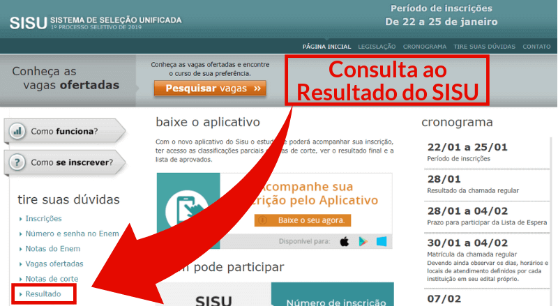 Site do SISU - Consulta do Resultado do SISU